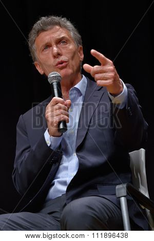 Mauricio Macri Speaks During A Press Conference