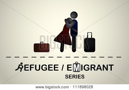 A man hugs a girl with suitcases after a trip.