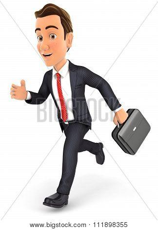 3d businessman running