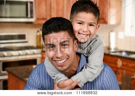Happy young father who is with his son