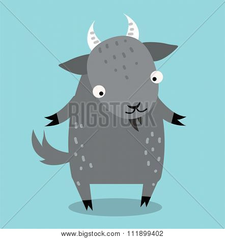 Cute cartoon goat vector illustration. Cartoon goat animal isolated on background. Goat, farm pet animal. Vector goat  farm animal. Cute goat vector illustration. Goat farm vector isolated on