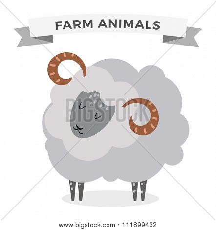 Cute cartoon sheep vector illustration. Cartoon sheep isolated on white background. Sheep, farm, pet animal. Vector sheep farm animal. Cute sheep vector illustration. Sheep vector isolated