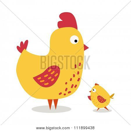 Cute cartoon chicken mother and chuk kid vector illustration. Cartoon chicken bird isolated on background. Chicken family birds. Vector chicken farm animal. Cute chicken vector illustration
