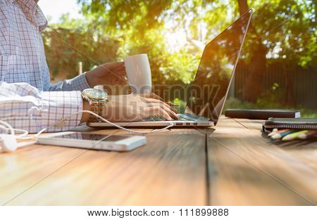 Businessman working outdoor