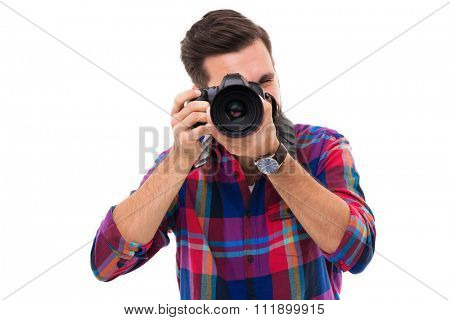 Man with digital camera