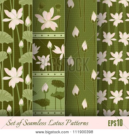 Set Of Seamless Lotus Patterns. Vector Illustration, Eps10.