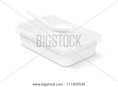 Blank Packaging Plastic Box For Food And Plastic Spoon Isolated On White Background