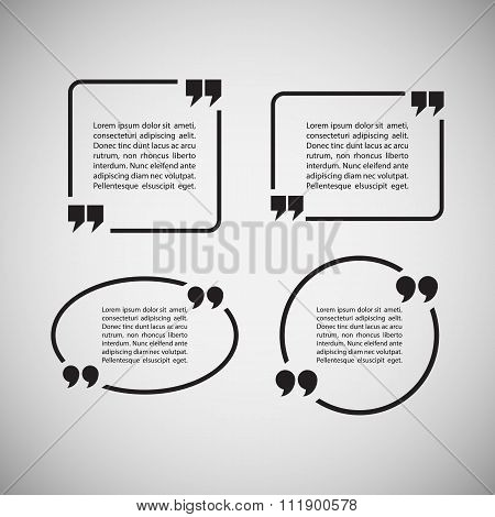 Quotation Mark Speech Bubbles on gray background. Set of quote sign icons.