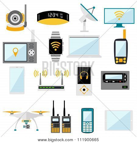 Wifi remote control electronic gadgets vector icons
