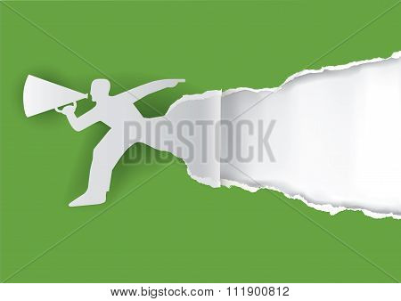 Man With Megaphone Ripping Paper