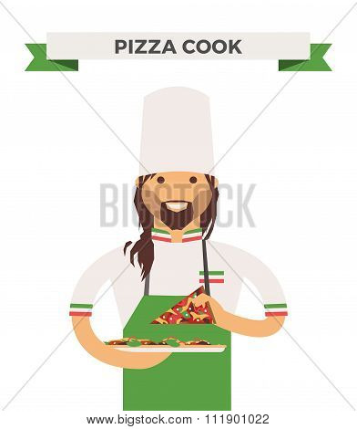 Vector cooking pizza chef vector illustration