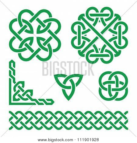 Celtic green Irish knots, braids and patterns