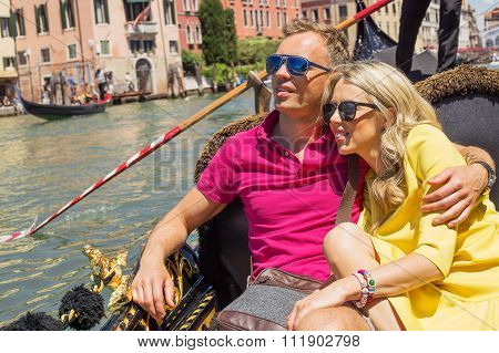 Happy couple with sun glasses
