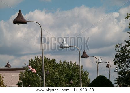 Street Lights Shaped Like Chocolate Kisses  In Herhsey Pa