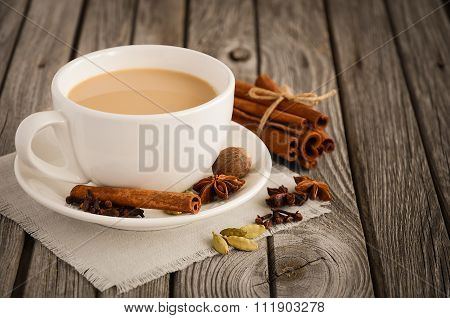 Indian masala chai tea. Spiced tea with milk.