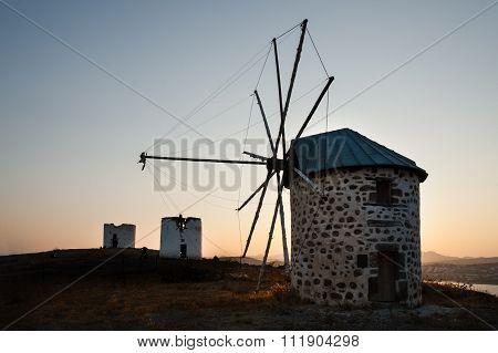 Row Of Disused Windmills.