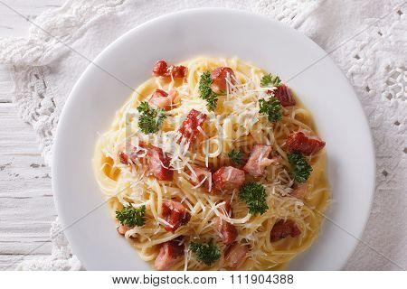 Italian Pasta Carbonara On A Plate. Horizontal Top View
