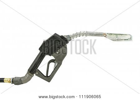 Gas pump nozzle and dollar on white background