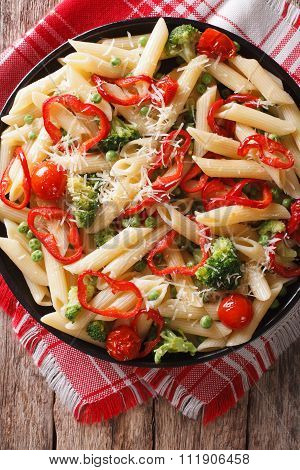Primavera Italian Pasta With Vegetables Closeup. Vertical Top View