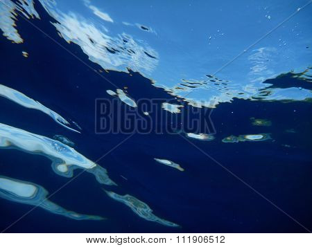 Bubbles Under The Blue Water