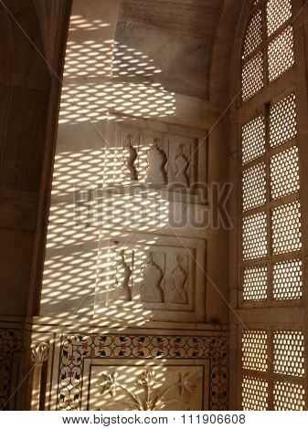 Daylight Comming Through Carved Marble Decoration