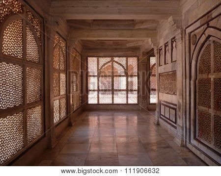 Carved Marble Curtain-like Walls In A Hall Of Indian Temple