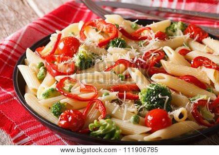 Italian Pasta With Vegetables Close-up On A Plate. Horizontal