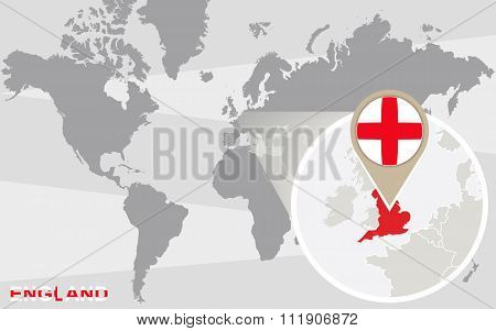 World Map With Magnified England