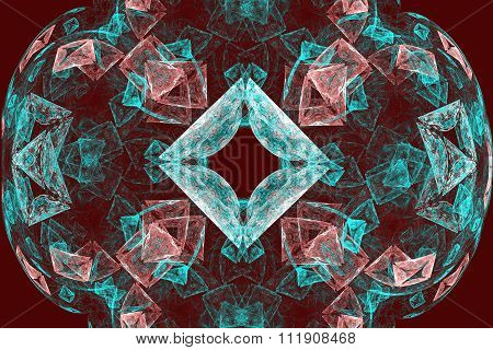 Fractal Images : Beautiful Patterns On A Dark Red Background.