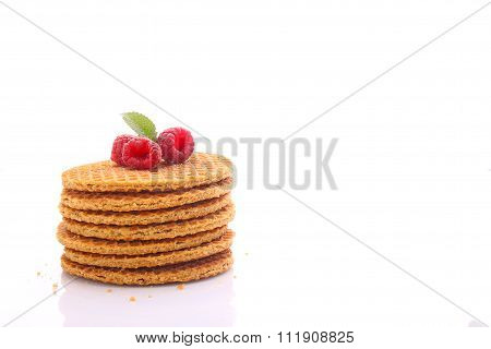 Weekend Breakfast: Waffles With Condensed Milk And Raspberries