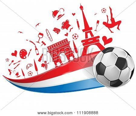 France Flag And Symbol  With Soccer Ball