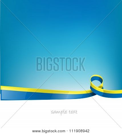 ukraine ribbon flag on sky background