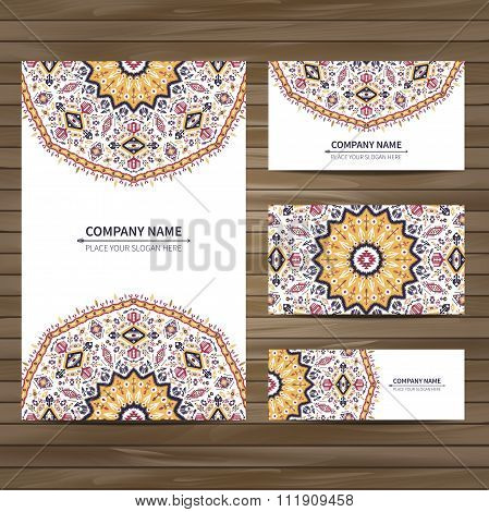 Business vector card template in native style