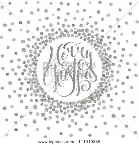 Silver calligraphic inscription Merry Christmas.