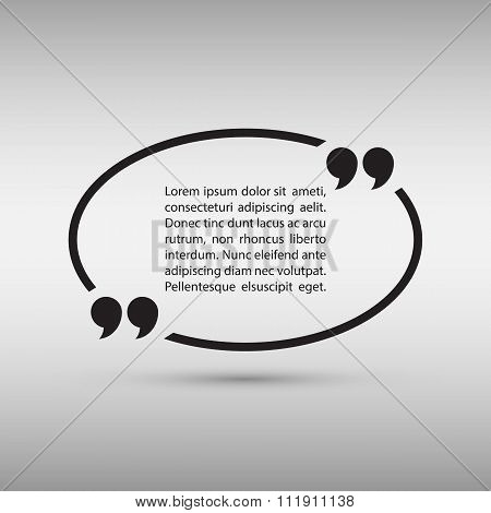 Oval quote text bubble on gray background.