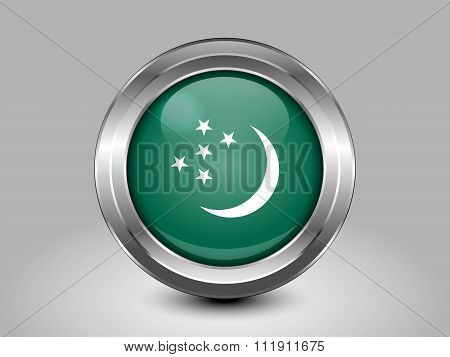 Turkmenistan Variant Flag. Metal Round Icon