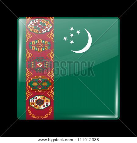 Flag Of Turkmenistan. Glassy Icon Square Shape