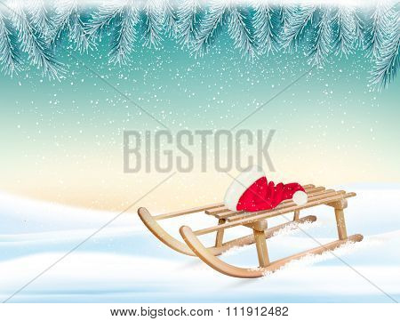 Christmas holiday background with Santa hat and a sleigh. Vector