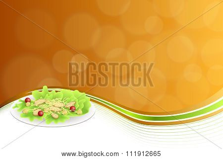 Abstract background food chicken Caesar salad tomato crackers cheese green red orange yellow frame