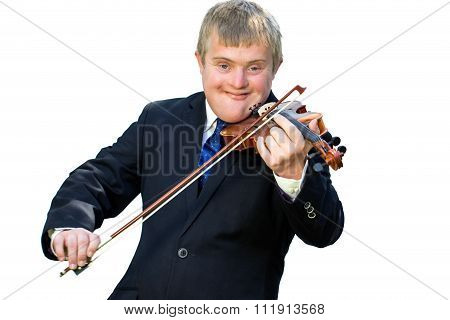 Handicapped Violinist Isolated.