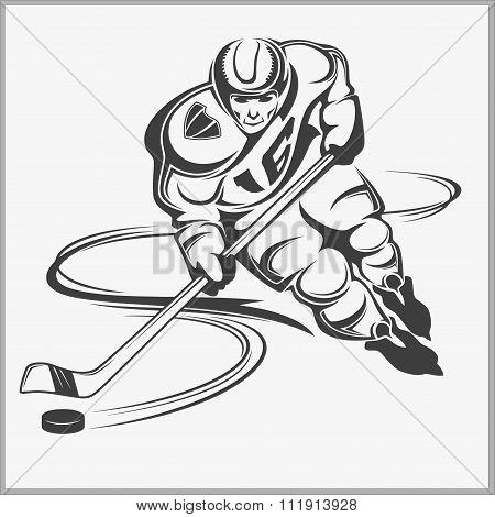 Hockey player - vector illustration