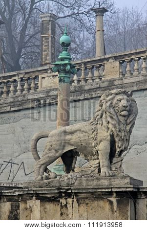 Budapest, Hungary - February 22, 2012: Statue Of Lion Near Buda Castle In Budapest
