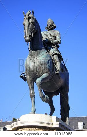 Madrid, Spain - August 23, 2012: Bronze Equestrian Statue Of King Philip Iii From 1616 At The Plaza