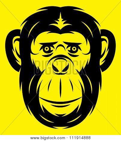 Vector Stylish Template Sport Emblem With Black Monkey
