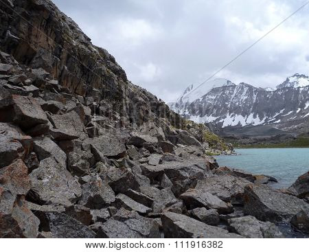 Lake Alla Kol In Mountains In Kyrgyzstan