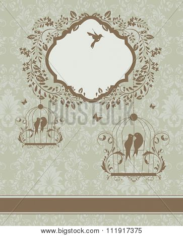 Vintage invitation card with ornate elegant retro abstract floral design, brownish gray flowers and leaves on greenish gray background with ribbon birds and plaque text label. Vector illustration.