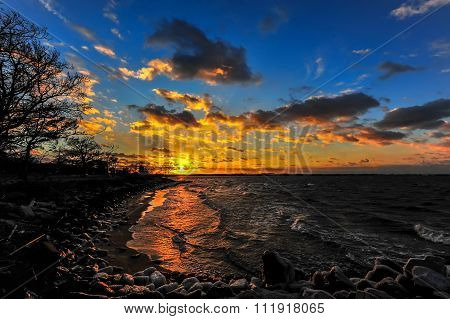 Winter Sunset On A Chesapeake Bay Beach