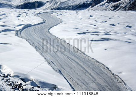 Winter curvy road with snow