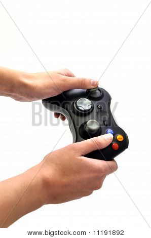 Joystick And Women Hand Isolated White 2