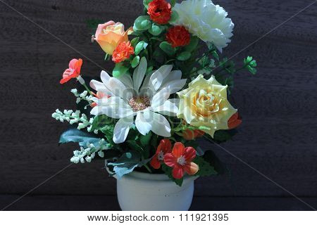 Flowers In A Vase On A Wooden Table Old Beautiful Gray